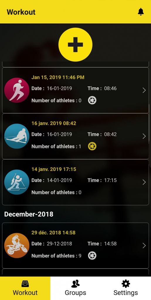 Training list and timing data - MyFreelap timing app